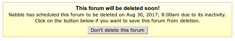 Forum Deletion Warning