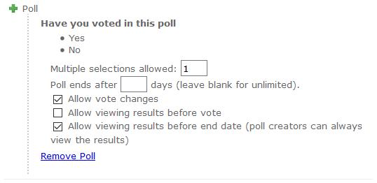 Poll - Settings
